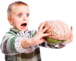 Kid with brain in hand